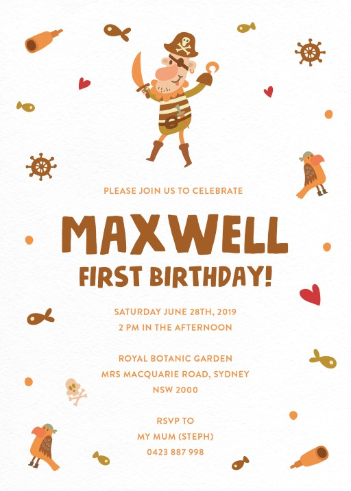 Ahoy Maties BBQ Invitation - Birthday Invitations