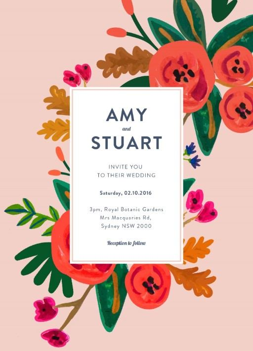 Red Flowers - Invitations