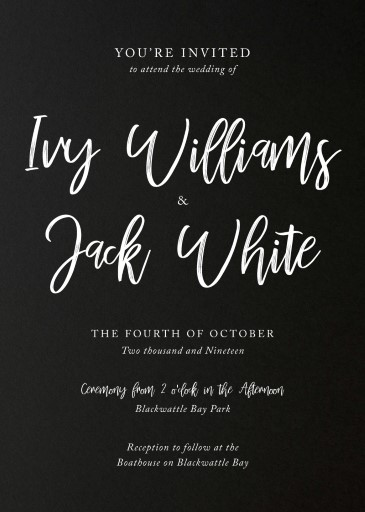white ink wedding invitations