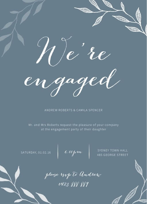 Leaves - Engagement Invitations