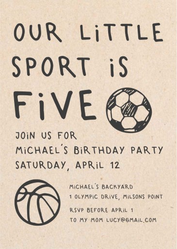 Sport Party - Birthday Invitations