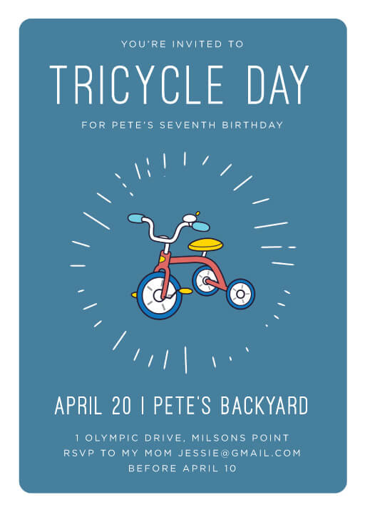 Bike Parade - Birthday Invitations