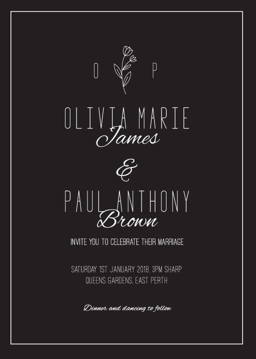 Simple Black Flowers - Wedding Invitations