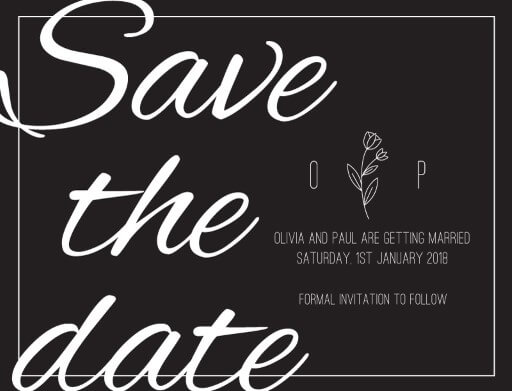 Simple Black Flowers - Save The Date