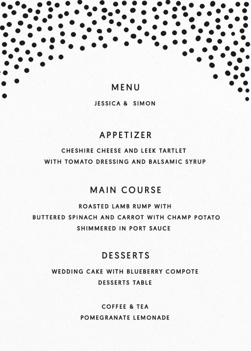Foil Of Dreams - Wedding Menu