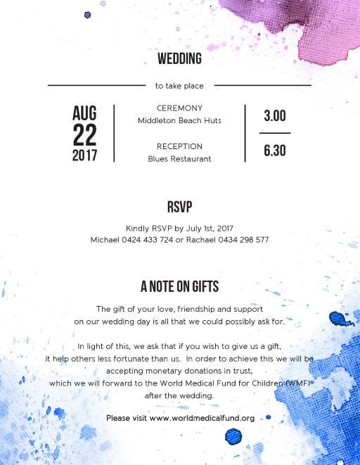 Watercolour splash - Information Cards