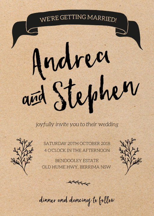 A Touch of Rustic - Wedding Invitations