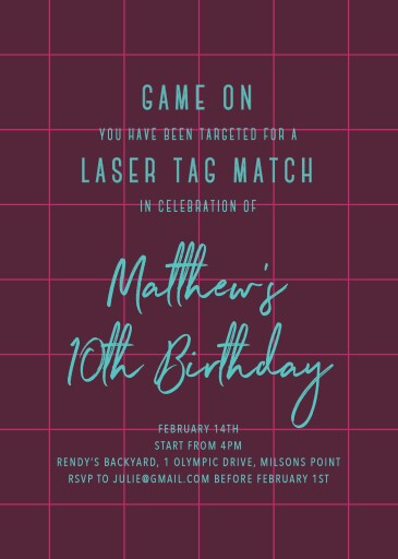 Laser Tag - birthday invitations