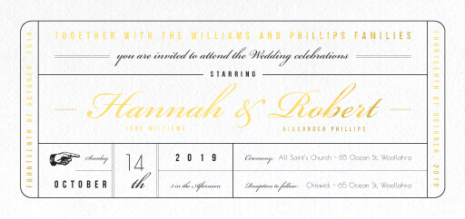 Movie Theatre, Movie Ticket Invitation - Wedding Invitations