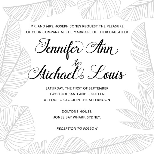 Tropical Black and White - Wedding Invitations