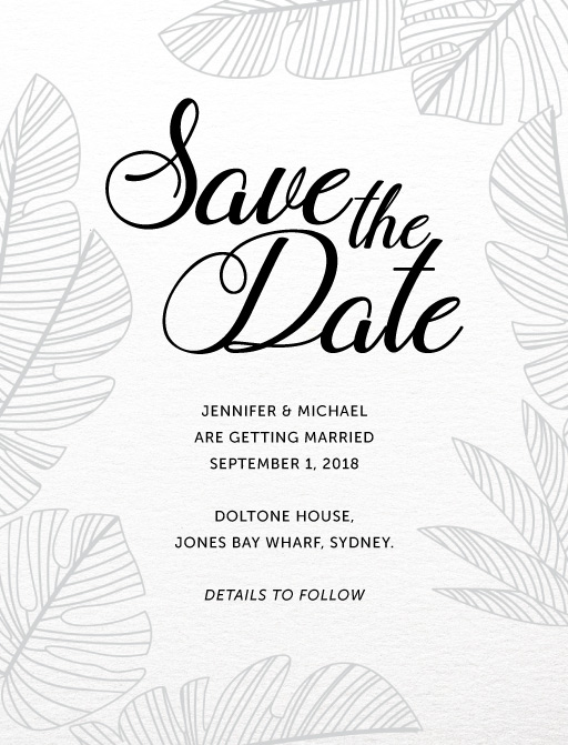 Tropical Black and White - Save The Date