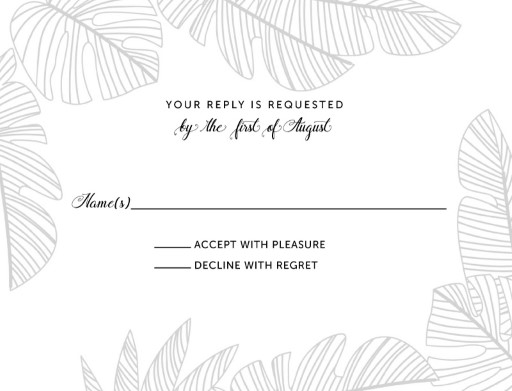 Tropical Black and White - RSVP Cards