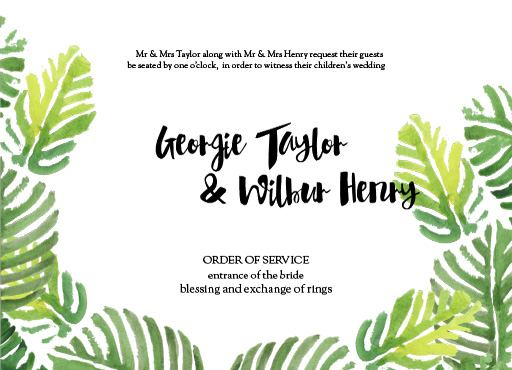 Palmy - Order of Service