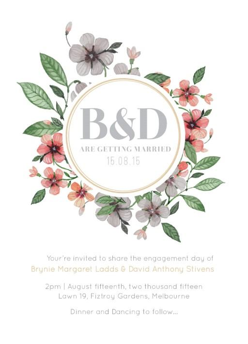 Floral Circle Invitation Set - Engagement Invitation