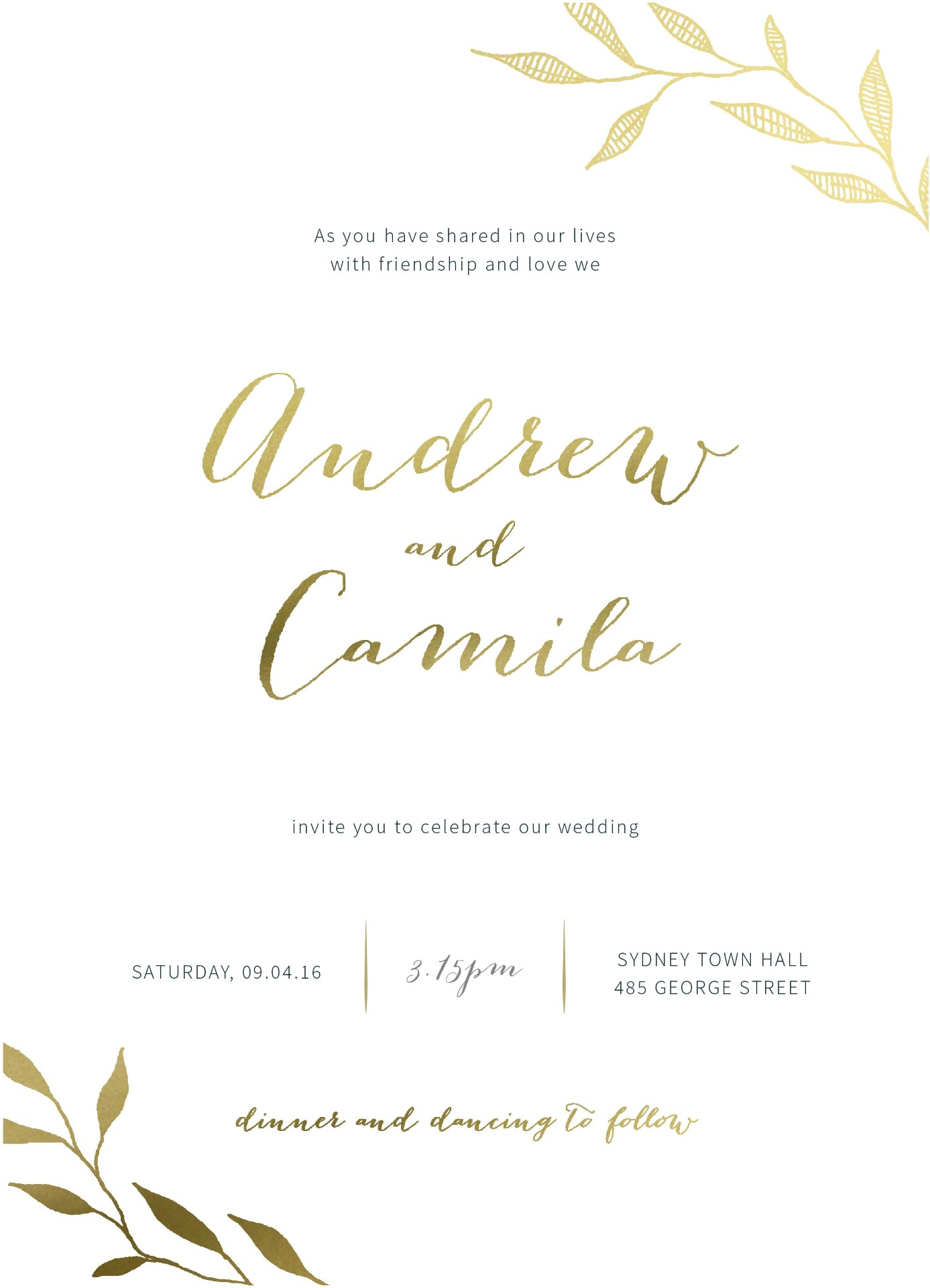 Leaves | Real Foil | Wedding Invitations