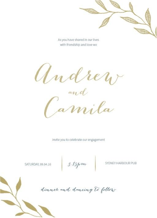 Leaves Real Foil Engagement Invitations
