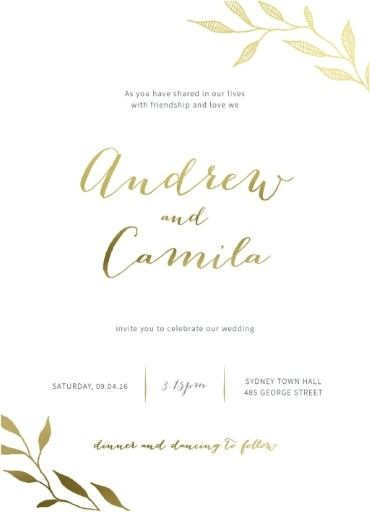 Leaves Real Foil Wedding Invitations
