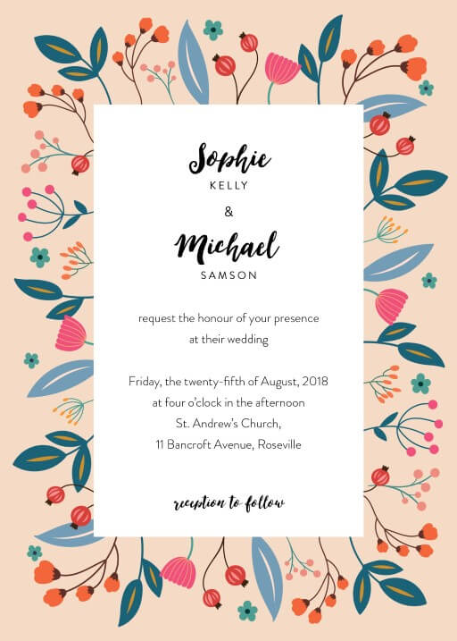 Native flowers - Wedding Invitations