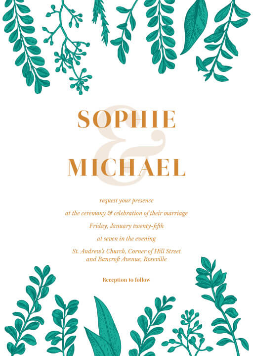Teal romance - wedding invitations