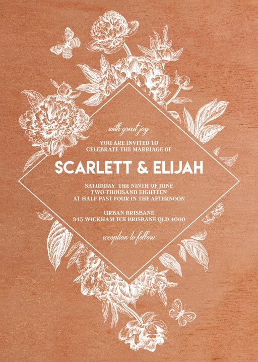 Rustic White Peony - wedding invitations