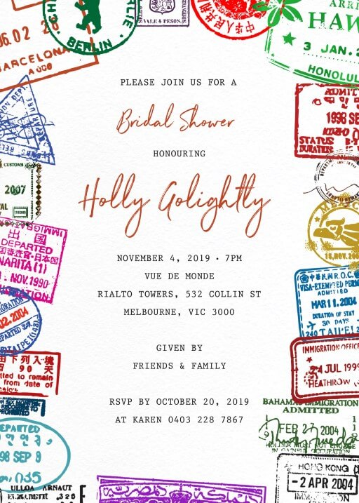 Gallery of Passport Stamp - bridal shower invitations