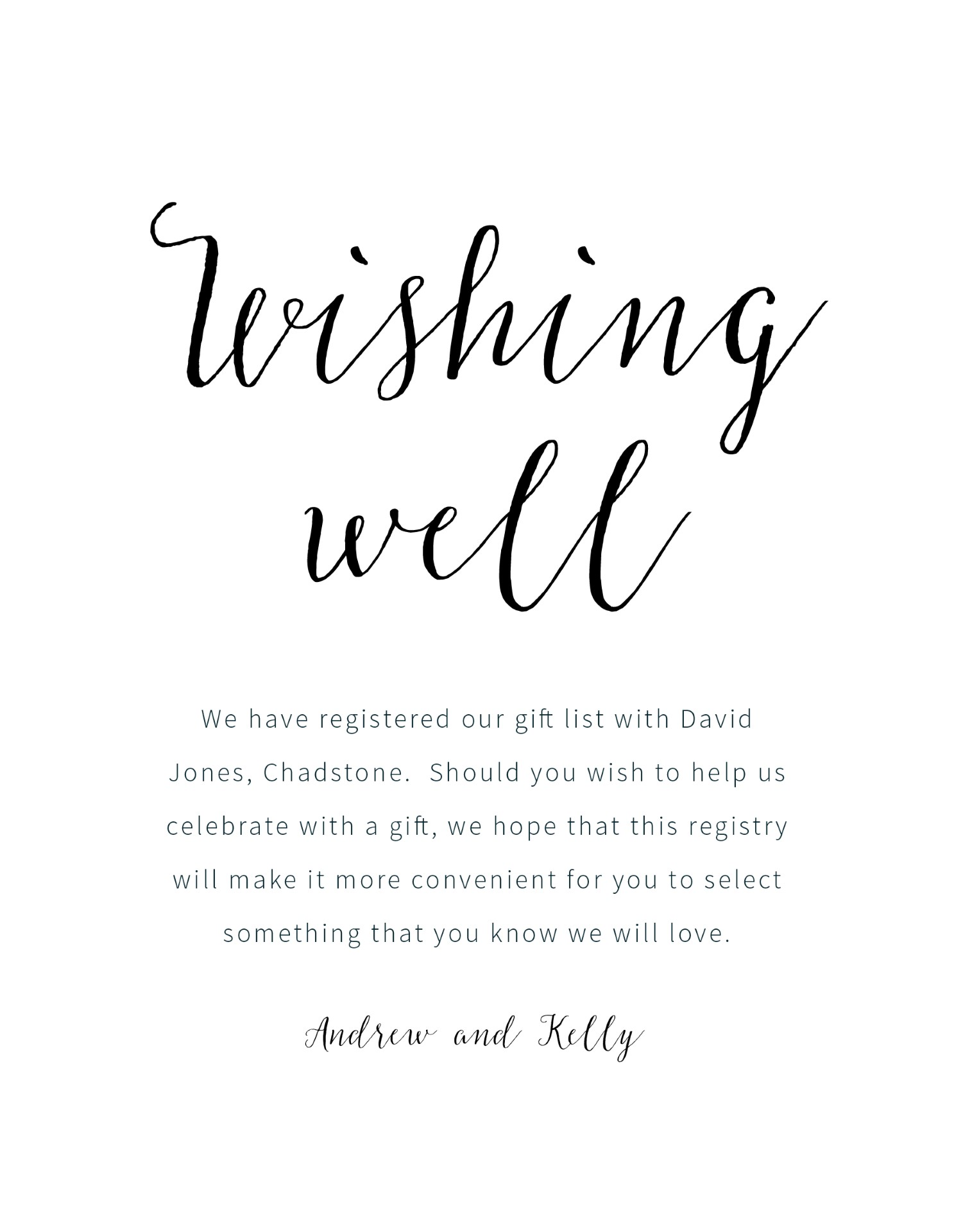 Wedding wishing well amount