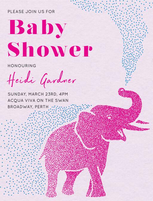 Elephant Dots - Baby Shower Invitations