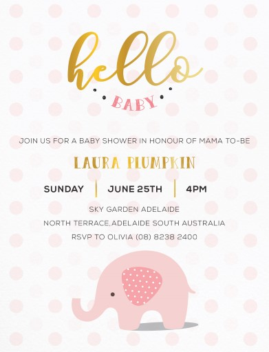 Olifant - baby shower invitations