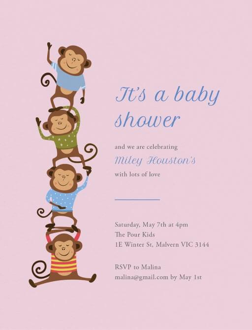 Little monkey - Baby Shower Invitations
