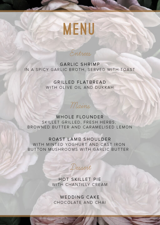 Myrtle Gentry - Wedding Menu