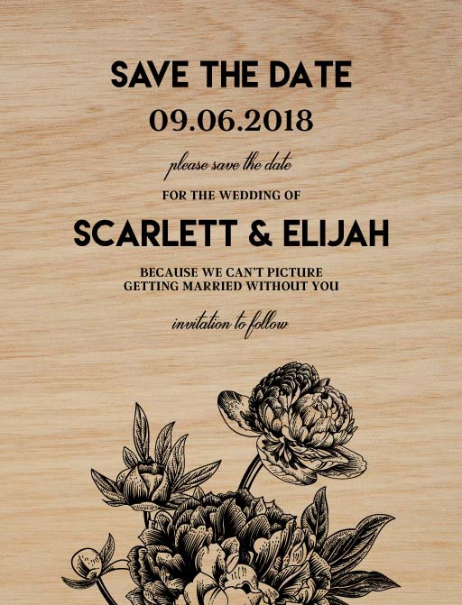 Rustic Peony - Save The Date