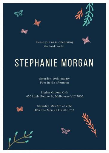 Butterflies - bridal shower invitations