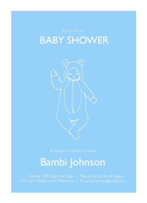 Baby shower cards by arrivals little bear onesie baby shower invitations filmwisefo