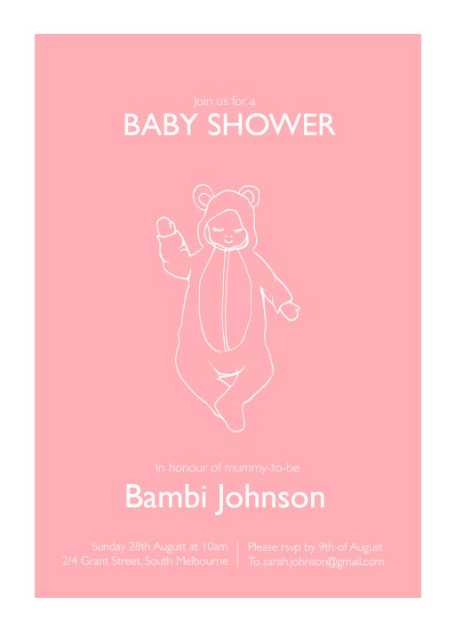 Baby shower invitations melbourne baby shower invitations little bear onesie baby shower invitations filmwisefo Choice Image