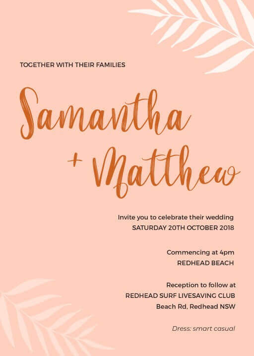 Sunsets over the Beaches - Wedding Invitations