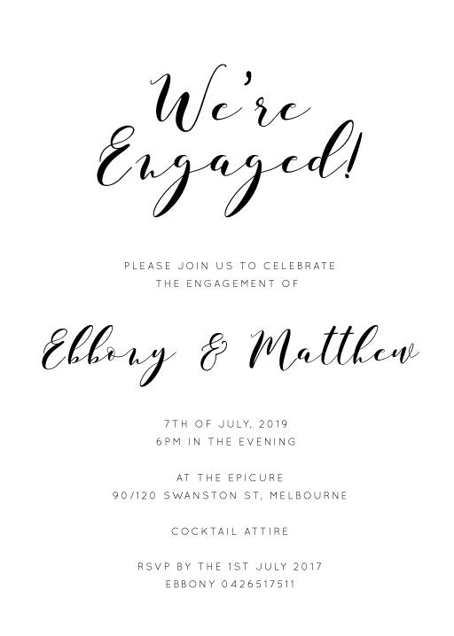 Calligraphy - Engagement Invitations
