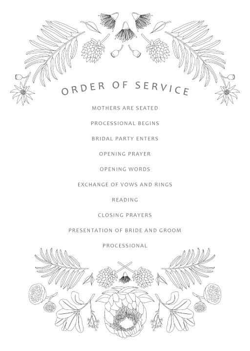 Australian Native Colour In - Order Of Service