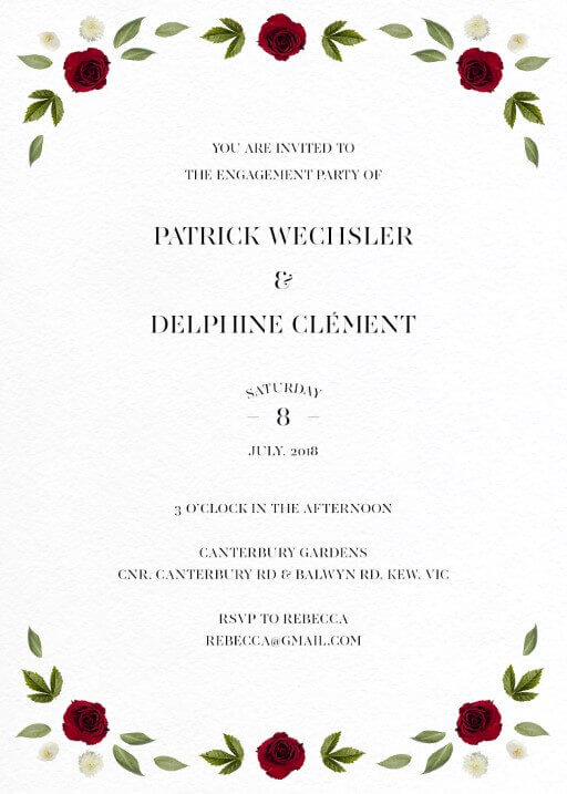 Delphine Rouge - Engagement Invitations