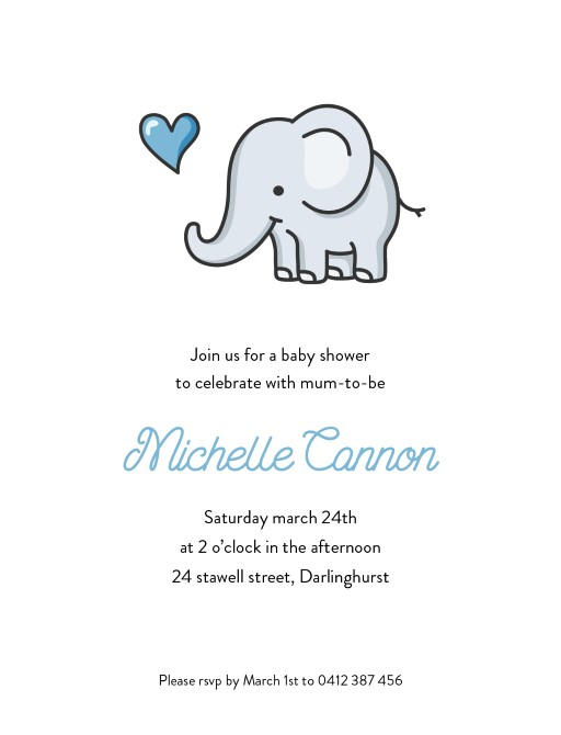 Baby Elephant Walk - Baby Shower Invitations