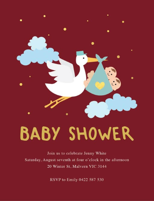 Stork and babies - Baby Shower Invitations