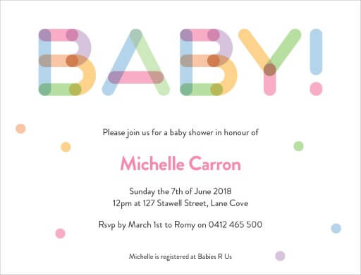 Coloured Block - Baby Shower Invitations