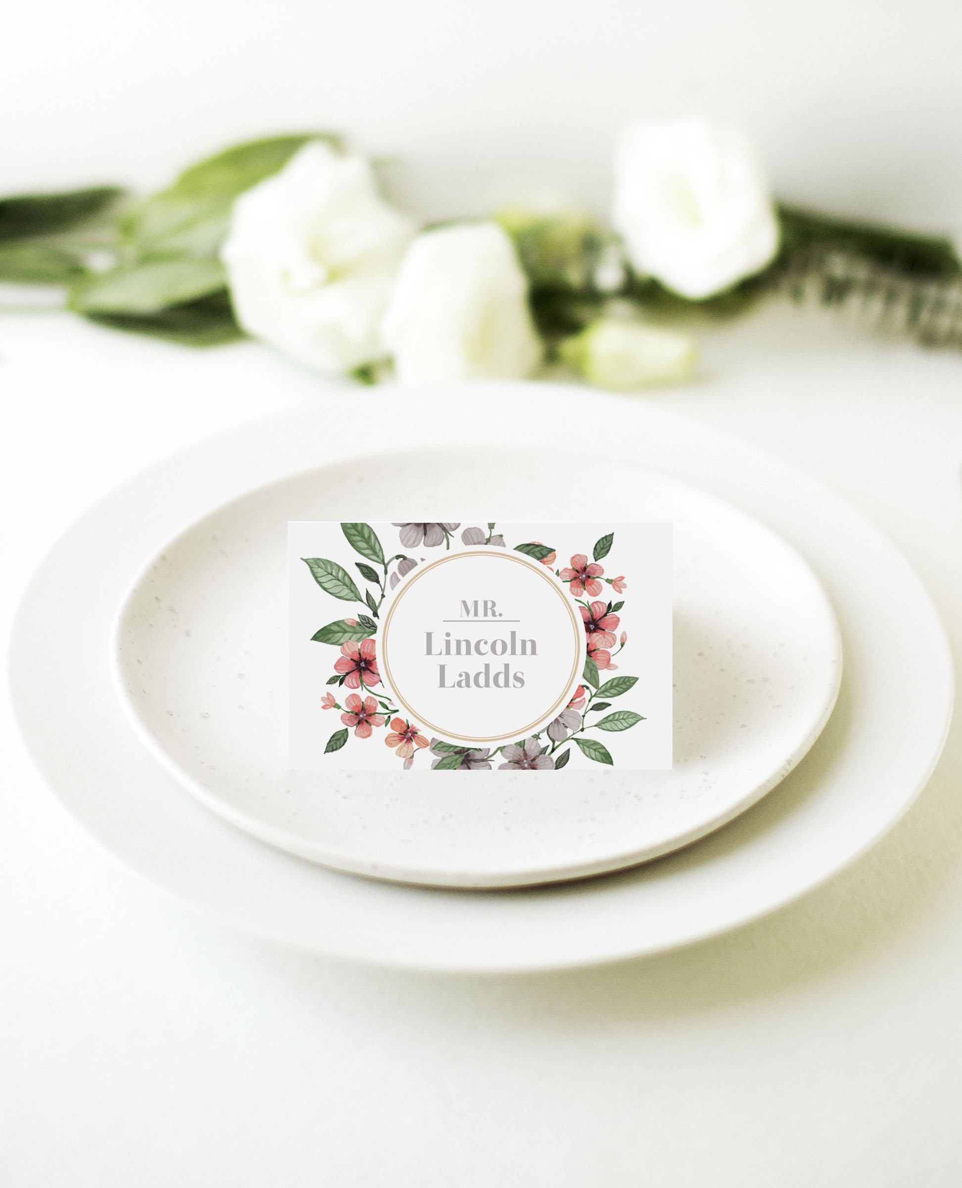 Floral Circle Invitation Set - Place Cards