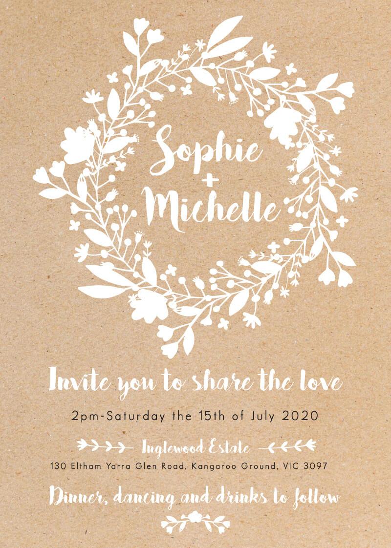 folk love white ink wedding invitations