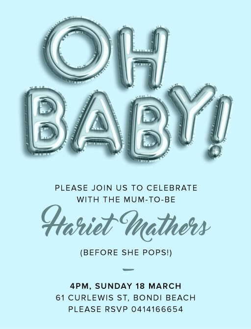 Oh Baby Rose - Baby Shower Invitations