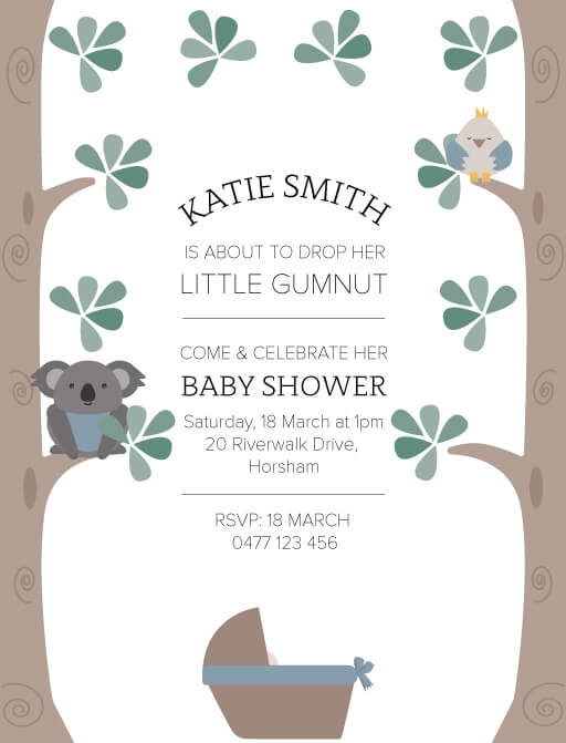 BUSH BABY BLUE - Baby Shower Invitations