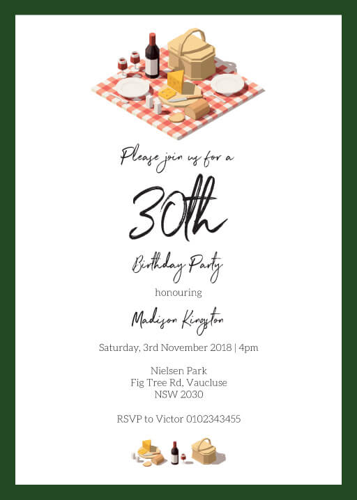 Picnic Party - Birthday Invitations
