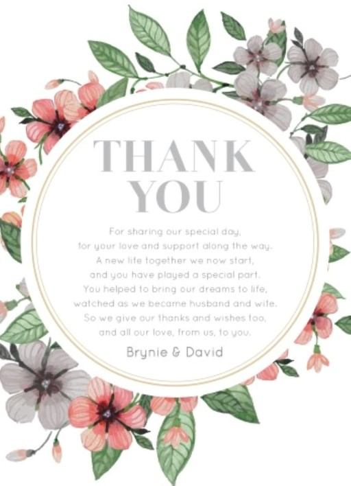 Floral Circle Invitation Set - Thank You Cards