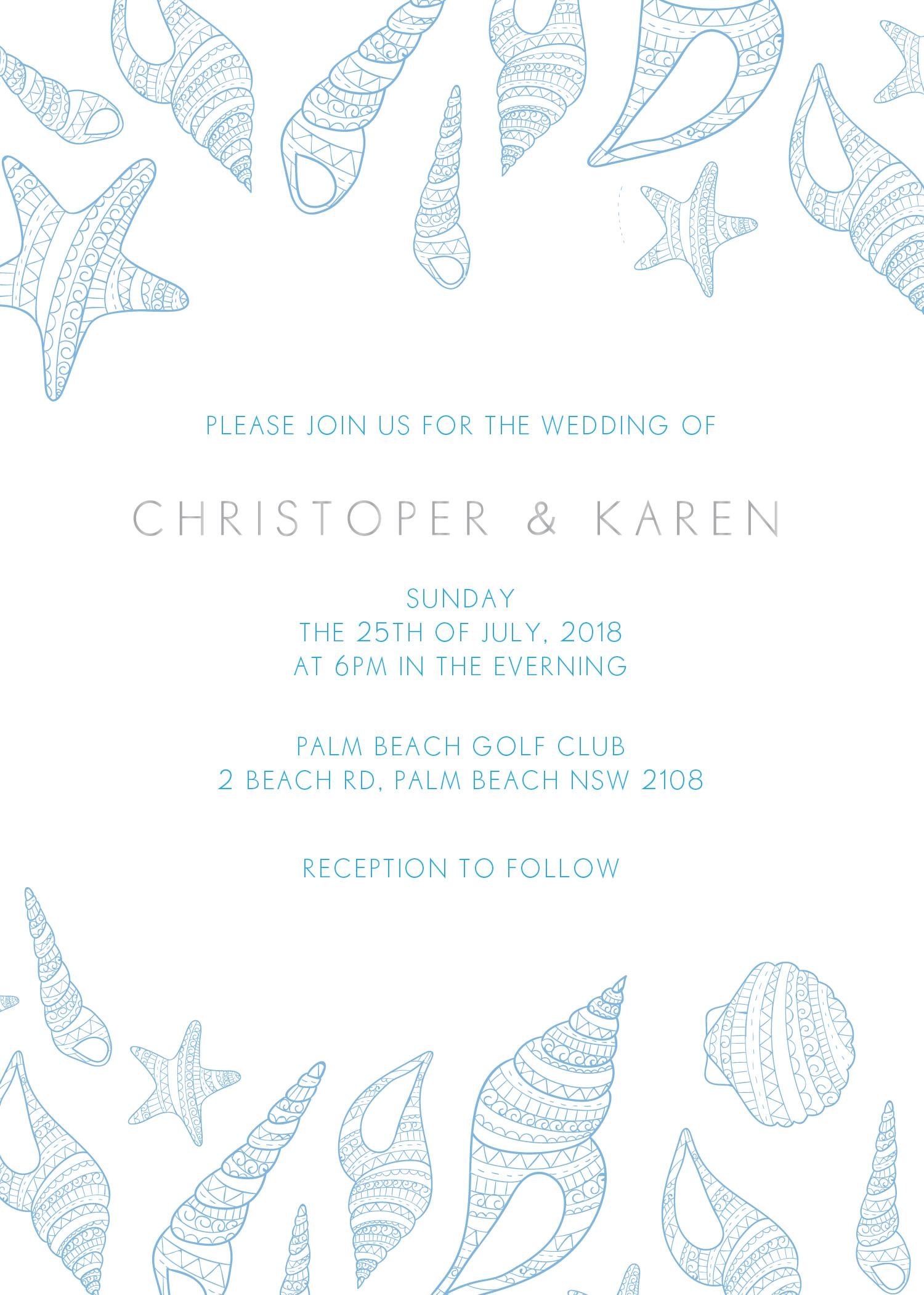 blue like the ocean metallic wedding invitations