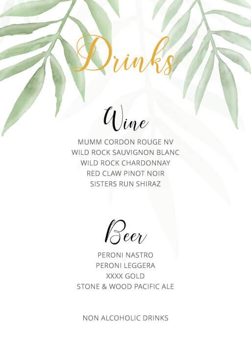 Forest Walk - Wedding Menu