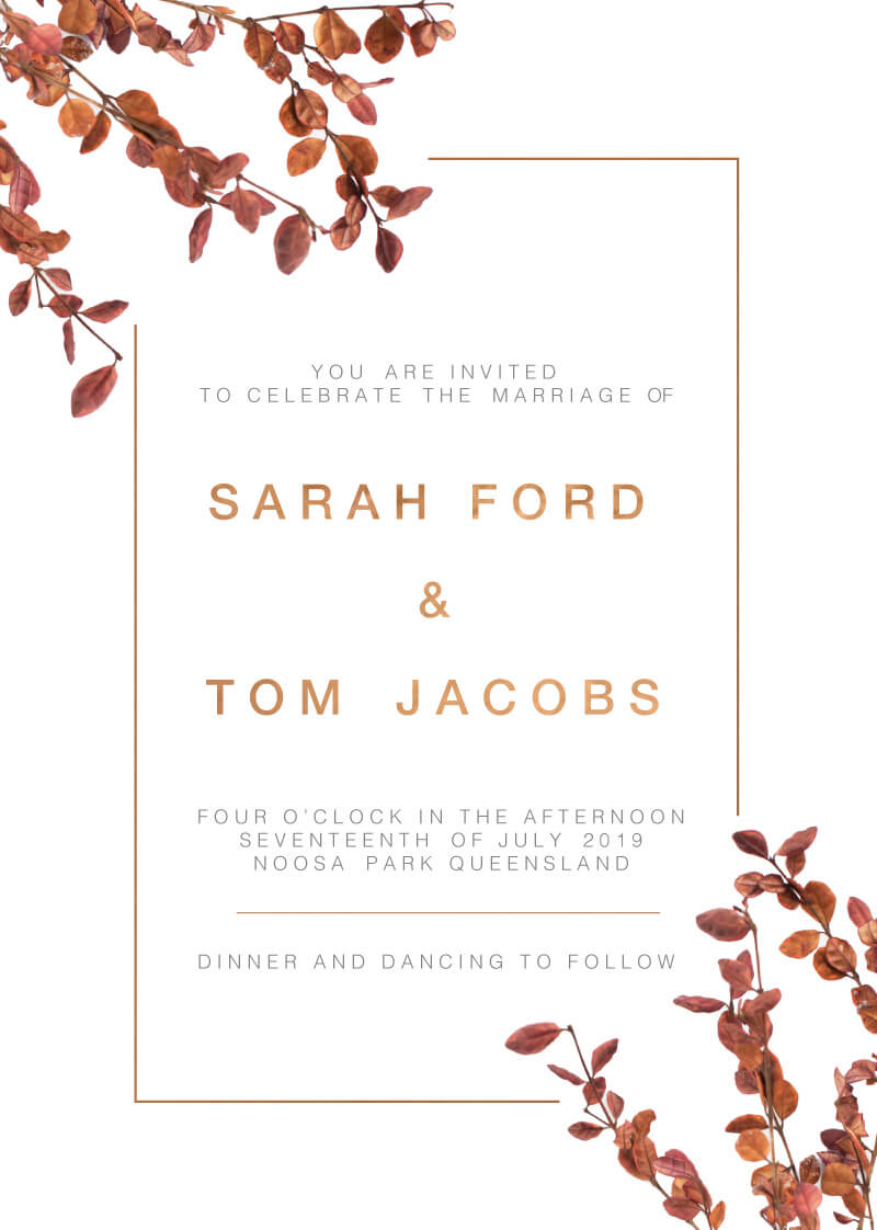 fall leaves real foil wedding invitations